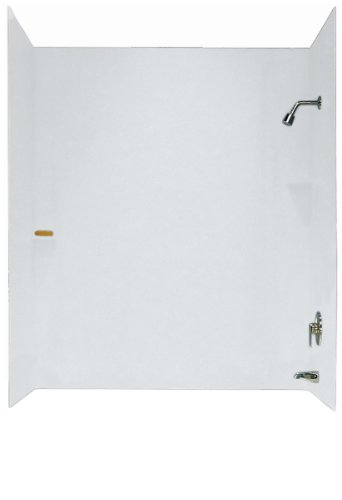 Swanstone SS00603.010 Solid Surface Glue-Up 3-Panel Bathtub Wall Kit, 30-in L X 60-in H X 60-in H, White
