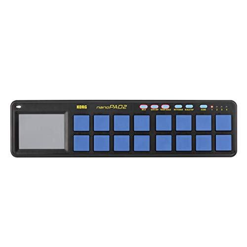 Korg nanoPAD2 Slimline USB-MIDI 16-Pad Controller, Blau/ Gelb
