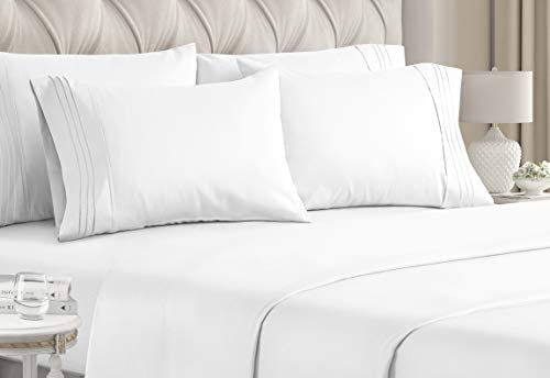 Queen Size Sheet Set – 6 Piece Set – Hotel Luxury Bed Sheets – Extra Soft – Deep Pockets – Easy Fit – Breathable & Cooling Sheets – Wrinkle Free – Comfy – White Bed Sheets – Queens Sheets – 6 PC