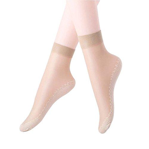 Hanmorlla 5 Paar Damen Feinstrumpfsöckchen Nylon Elastische Strümpfe Socken Transparente Kristall Kurze Socken mit Muster Schwarz Hautfarben