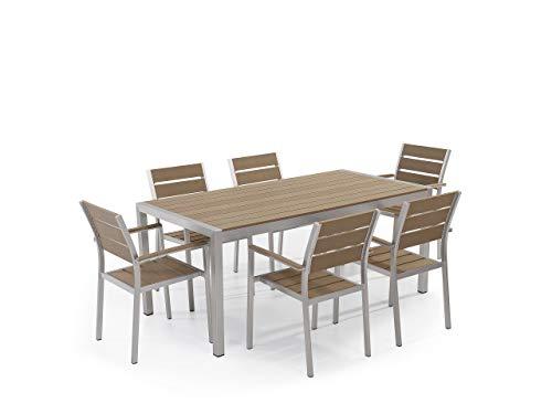 Beliani Minimalistisches Gartenset Tisch mit 6 Stühlen Kunstholz braun Vernio