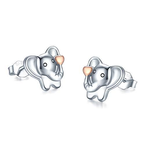 Elephant Earrings, 925 Sterling Silver Cute Stud Earrings for Women Hoop Earrings Small Hypoallergenic Ladies Ear Rings Lucky Elephant Jewellery for Kids Girls