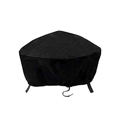 ValueHall Fire Pit Cover Waterproof 600D Heavy Duty Firepit Cover Outdoor Bowl Table Cover Round Fire Pit Cover Patio Firepit Bowl Cover Outdoor Grill Cover With Drawstring Cord V7084B (77 x 31cm) by ValueHall
