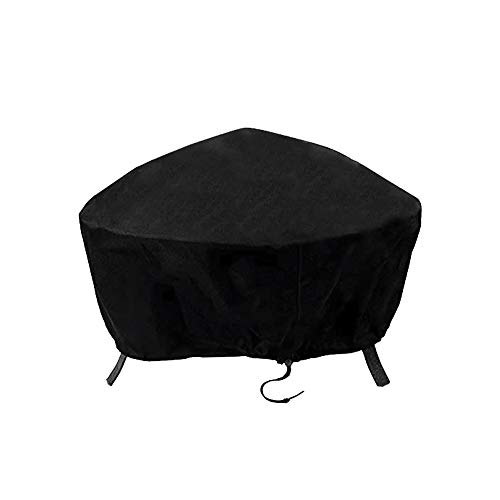 ValueHall Fire Pit Cover Waterproof 600D Heavy Duty Firepit Cover Outdoor Bowl Table Cover Round Fire Pit Cover Patio Firepit Bowl Cover Outdoor Grill Cover With Drawstring Cord V7084B (92 x 31cm)