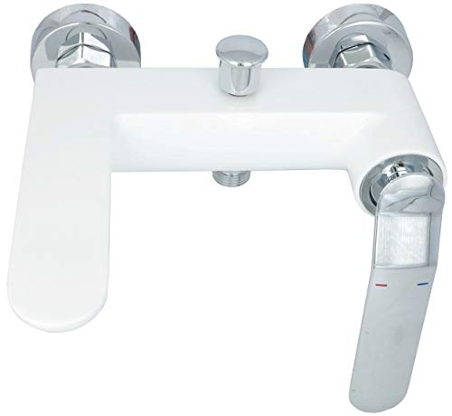 Badewannenarmatur Chrom Weiß Badewanne Armatur Wasserhahn Mischbatterie Wannenarmatur Einhebelmischer Wanneneinlauf