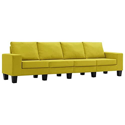 vidaXL Sofá de 4 Plazas Asiento de Salón Sillón Descanso Relajante de Suave Muebles de Hogar Oficina Estable y Duradero Tela Amarillo