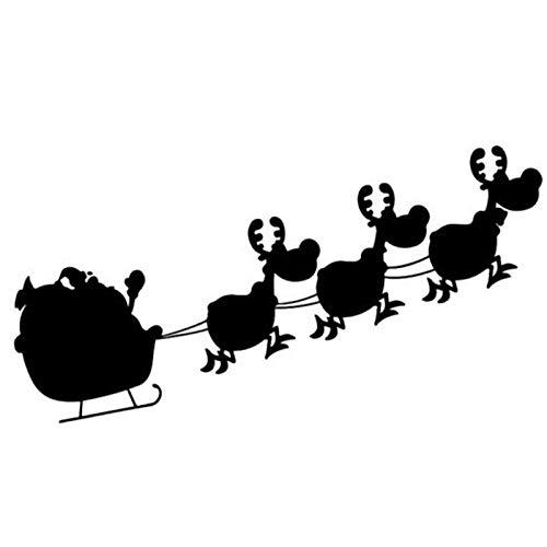 YuanMinglu Frohe Weihnachten Rentier Schlitten Wandaufkleber Wandtattoo Dekoration Schwarz 43x82cm