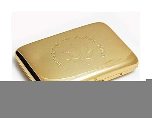 JKCKHA Caso de Cigarrillos (20): Simple portátil Cobre Retro de Cigarrillos Proceso del Caso, galvanoplastia, tamaño 9.4 * 7.1 * 2.0 cm, Oro, Anti-presión (Color: Oro, Tamaño: 9.4 * 7.1 * 2.0cm)