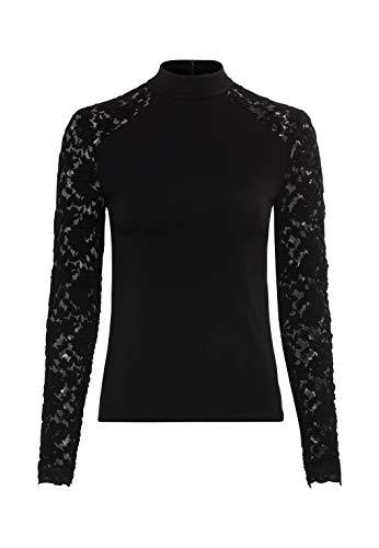HALLHUBER Spitzenshirt mit Stehkragen leicht tailliert schwarz, L