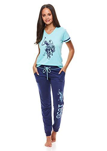 U.S. Polo Assn. Womens Pajama Set with Pockets - Short Sleeve Shirt and Pajama Pants Pj Set Mint Large