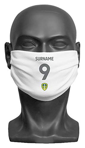 Personalised Leeds United FC Back Of Shirt Adult Face Mask- Large