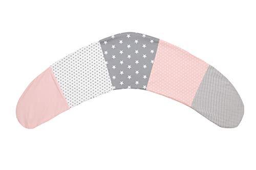 ULLENBOOM ® Stillkissenbezug 190 cm x 38 cm Rosa Grau (Made in EU) - Bezug für Stillkissen, Seitenschläferkissen & Co mit den Maßen 190x38 cm, 100% Ökotex zertifizierte Baumwolle