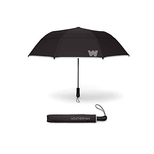 The Weatherman Umbrella - Collapsible Umbrella - Windproof Umbrella Resists Up to 55 MPH - Available in 8 Colors (Black)