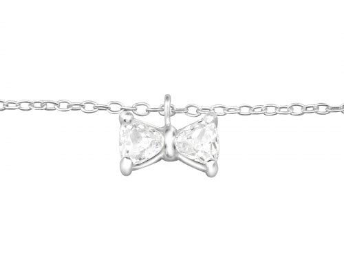 Stylish 925 sterling silver anklet featuring a sparkling cubic zirconia bow