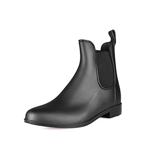 TRIWORIAE-Stivali Gomma Pioggia Donna Ragazza Chelsea Bassi Lavoro Giardino Stivaletti Antiscivolo Wellington Ankle Boots Nero 36