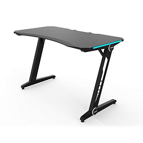 HFTEK Gaming Schreibtisch - Gaming Tisch - Ergonomischer Gamer Desk - Computertisch mit Blauer LED-Beleuchtung (FA33GBL)