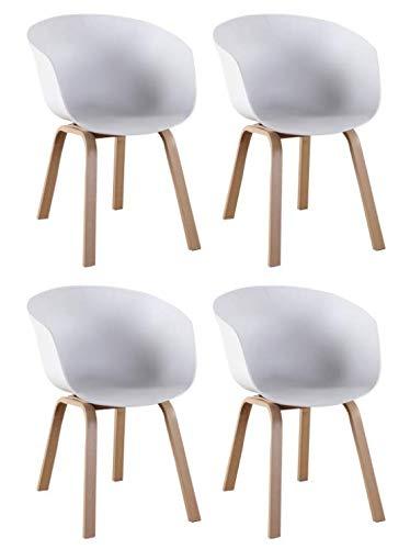 n/c Juego de 4 Sillones con Construcción metálica Estable Sillas de Reposabrazos de Diseño Moderno para Comedor Sala de Estar Dormitorio (Blanco)