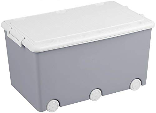 Tega Baby Large Toy Box with Wheels and Lid Kids Storage Organiser Container Grey