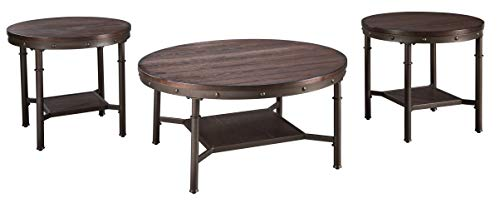 Signature Design by Ashley - Sandlingr Round Table Set - Includes Table & 2 End Tables, Rustic Brown