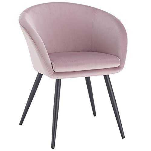 Silla de salón suave de terciopelo tapizada de metal, silla de comedor, moderna y ocio, para decoración de muebles del hogar, 1 pieza (color: rosa)
