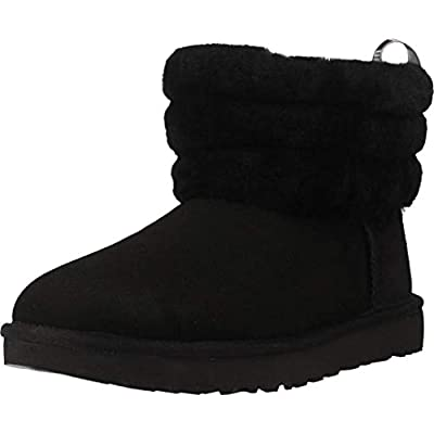 UGG Womens Classic Mini Fluff Quilted Black Boot - 8