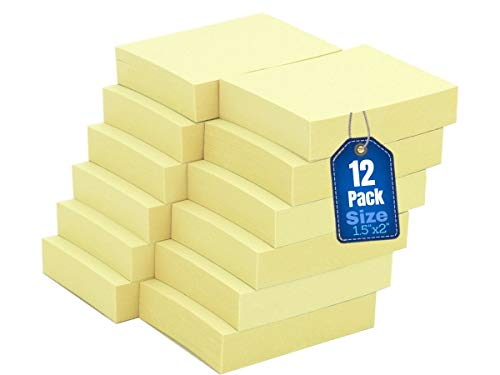 1InTheOffice Self-Stick Note Pads, Sticky Notes 1.5 x 2, Yellow, 100-Sheet 12/Pack