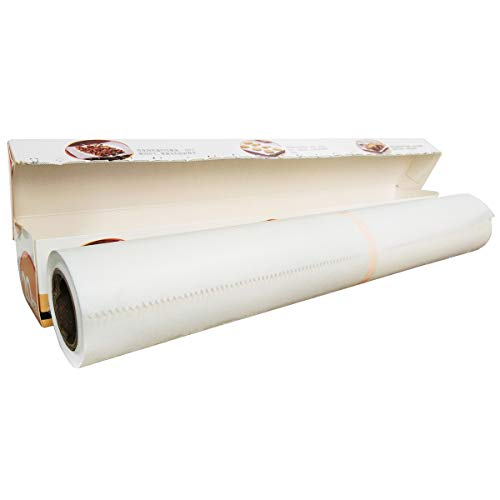 Nonstick Parchment Paper Roll for Baking, Reusable Food Grade Waterproof&Oilproof Wax Paper, 12' x 66' Heavy Duty Roasting Pan Liner for Oven Air Fryer Kitchen Barbecue[White]