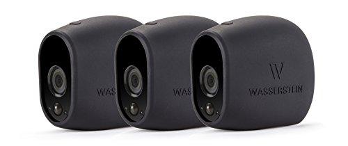 3 x Fundas de Silicona para Arlo Smart Security – cámaras 100% inalámbricas de Wasserstein (Arlo HD, 3 x Negro)