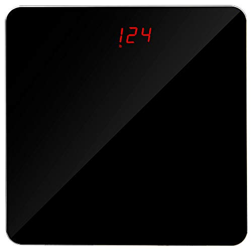 Digital Body Weight Bathroom Scale  Sleek Black Tempered Glass  Measure Up to 400 Lbs  Accurate Measurement Weighing to 01 Lbs  Track Weight Loss Gym Exercise and Diet Progress  with Batteries