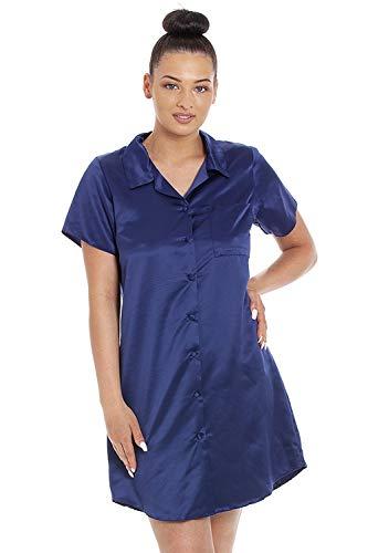 CAMILLE Womens Luxury Plain Satin Nachthemden 44 Navy