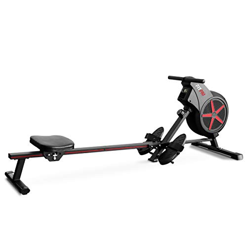 Fitfiu Fitness RA-100 - Máquina de Remo para casa plegable, con resistencia de aire para entrenamiento cross training, con asiento acolchado para fitness en casa
