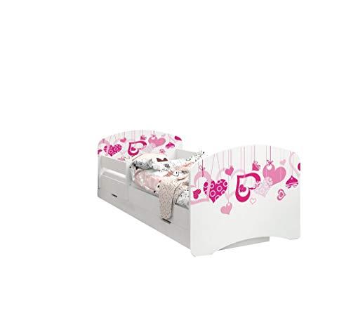 Happy Babies - Doppelseitiges Kinderbett MIT SCHUBLADE Modernes Design mit sicheren Kanten und Absturzsicherung Schaumstoffmatratze 7 cm. (180x90, 02. Fallende Herzen)
