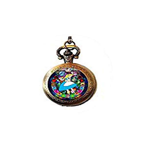 Wonderland - Gargantilla de Cristal con diseño de Anime, Efecto 3D, 2 Collares de Reloj de Bolsillo