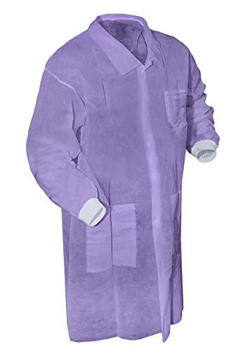 Abrigos de laboratorio desechables AMZ. Paquete de 5 abrigos de laboratorio para adultos, talla XL, SMS, color morado Uniforme de trabajo no estéril. Bata de laboratorio unisex con mangas largas, puños tejidos, tres bolsillos.