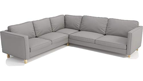 The Cotton Karlstad SectionalSofa Cover ( 2+3 / 3+2 ) Replacement, is Custom Made for IKEA Corner Slipcover Replacement (Dense L Gray)