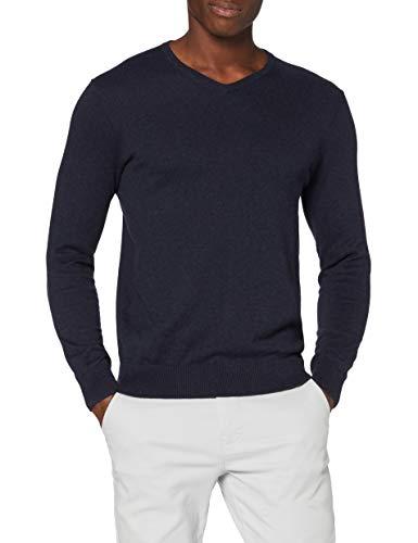 Marchio Amazon - MERAKI Pullover Cotone Uomo Scollo a V, Blu (Navy), M, Label: M