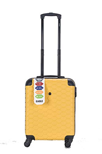 ABS Hard Shell 4 Wheel Case Travel Luggage Suitcase Bags Combination Secure Lock Hexa Block Style Swivel Wheeled Extra Fine Quality (Mustard Yellow, Cabin 50x40x20cm)