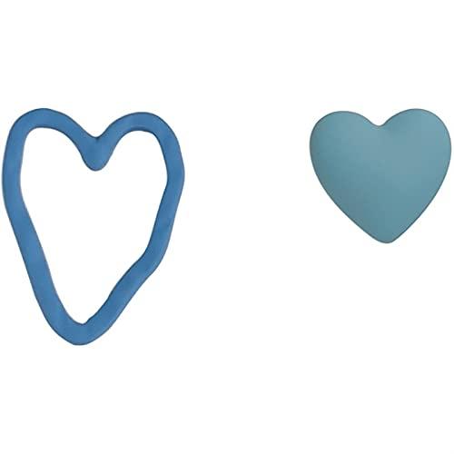 DEYUCHANG S925 Silver Needle Love Heart En Forma de corazón Pendientes de Perno asimétrico, Niñas Niñas Niñas Fiesta de cumpleaños Regalo (Size : Earrings)