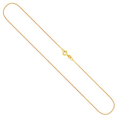EDELWEISS Cadena para Mujer de Oro Real de 0.8 mm, Cadena de Panzer Plano Oro Amarillo 8 k 333, Cadena de Oro con Sello, con arandela de Resorte, Long. 70 cm, p. 1.6 g