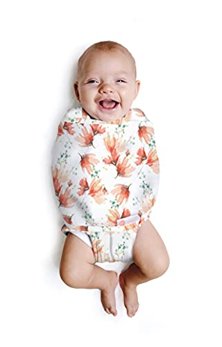 embé 2-Way Starter Swaddle Blanket, 6-14 lbs, Diaper Change w/o Unswaddling, Legs in and Out Design, Warm Up or Cool Down 100% Cotton, 0-3 Months (Blush Blossom)
