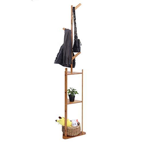 Perchero de madera maciza, para colgar ropa, para pasillo, dormitorio, hogar, oficina, (tamaño: 36 x 180 cm, color: marrón oscuro)