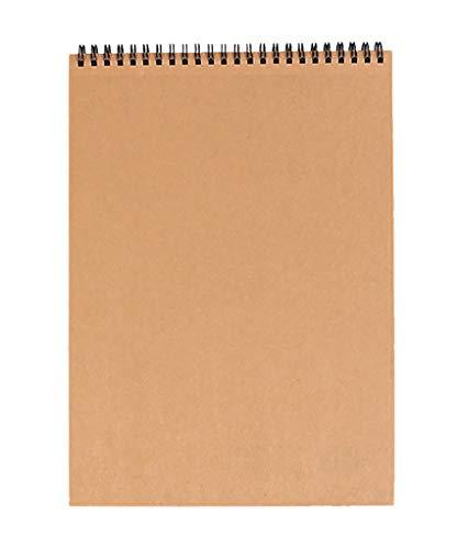 GJJSZ Cuaderno de bocetos A4, Cuaderno de bocetos Papel de Dibujo Bloc de Libros de Arte (30 Hojas) 120g Tapa Dura con encuadernación en Espiral Kraft Retrato