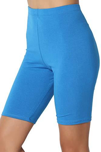 TheMogan Women's Cotton Mid Thigh High Waist Active Short Leggings Turquoise L