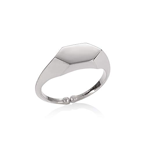 namana Adjustable Silver Signet Ring for Women, Polished Silver Hexagon Signet Rings for Women and Teen Girls, Unusual Open Signet Rings for Women with Brushed Finish, Cute Ring for Ladies
