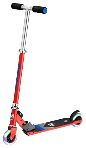 Mongoose Trace Youth/Adult Kick Scooter Folding and Non-Folding Design, Regular, Lighted, and Air Filled Wheels, Multiple Colors, Red/Blue, 100mm Wheels