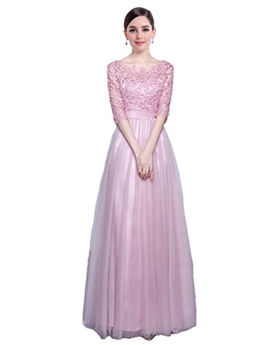LuckyShe Damen Lang Elegant Spitze Tüll Abendkleider Ballkleid Partykleider mit 3/4 Ärmel Dunkelrosa Größe 36
