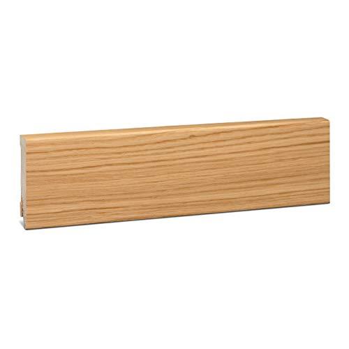 KGM Sockelleiste Eiche Echtholz | Fußleiste 80mm Modern ✓Echtholz Fichte Träger ✓Furnier Holz Oberfläche ✓Parkettleiste | Sockelleisten für Laminat & Parkett | Holzleisten Eiche 16x80x2500mm