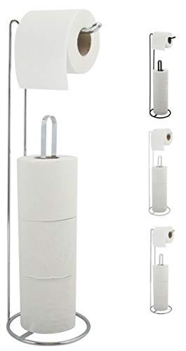 MSV Toilettenpapierhalter Stehend BxHxT: 15x54x15cm freistehender Papierrollenhalter Edler Rollenhalter für WC-Rollen als Ersatzrollenhalter Silber