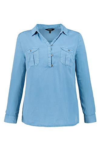 Ulla Popken Damen Hemdbluse Lyocell mit Krempelarm Hemd, Blau (Blau 71), (Herstellergröße: 50+)