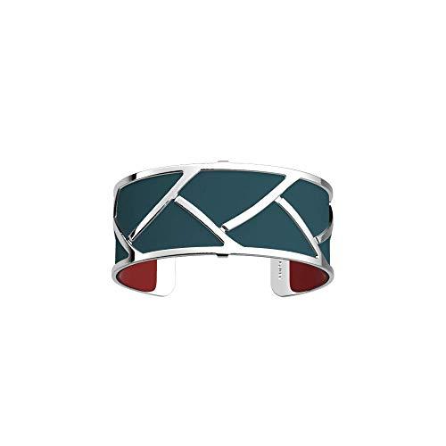 Les Georgettes - Bundle - Armreif Silber 25mm Tresse Zopf inkl. Ledereinsatz Petrol/Himbeer Rot